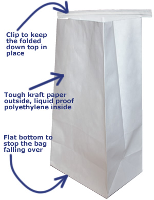 Our sick bags have a flat bottom to stop them falling over, a clip to hold the top in place are tough and liquid proof