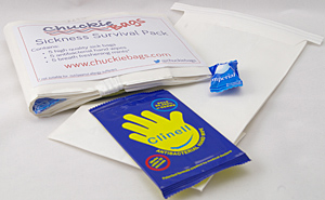 Sickness Survival Pack, 5 sick bags, 5 anti-bacterial wipes, 5 mouth freshening mints